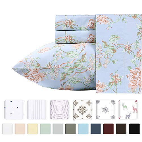 (400 Thread Count 100% Cotton Sheets in Antique Rose Printed Queen Size Set, 4-Piece Long-staple Combed Cotton Best Sheets For Bed, Breathable, Sateen Weave Fits Mattress Upto 18'' Deep Pocket)
