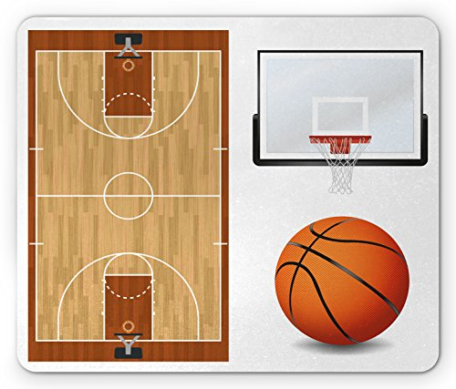 Boy's Room Mouse Pad by Lunarable, Basketball Court Backboard Illustration Realistic Sports Themed, Standard Size Rectangle Non-Slip Rubber Mousepad, Pale Brown Orange Black