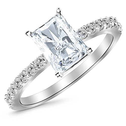 Platinum 0.75 CtW Classic Side Stone Pave Set Diamond Engagement Ring w/ 0.5 Ct Radiant Cut F Color SI1 Clarity Center