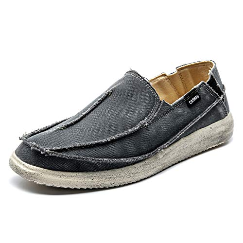 CASMAG Men's Classic Casual Boat Shoes Canvas Slip-on Loafers Outdoor Leisure Walking Flat Grey US 13