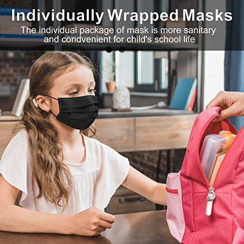Black 3 Ply Disposal Face Mask for Kids 50 Pack, Bulk Throw Away Masks Small Lightweight Non-Medical Black Disposable Face masks For Kids Girls Boys