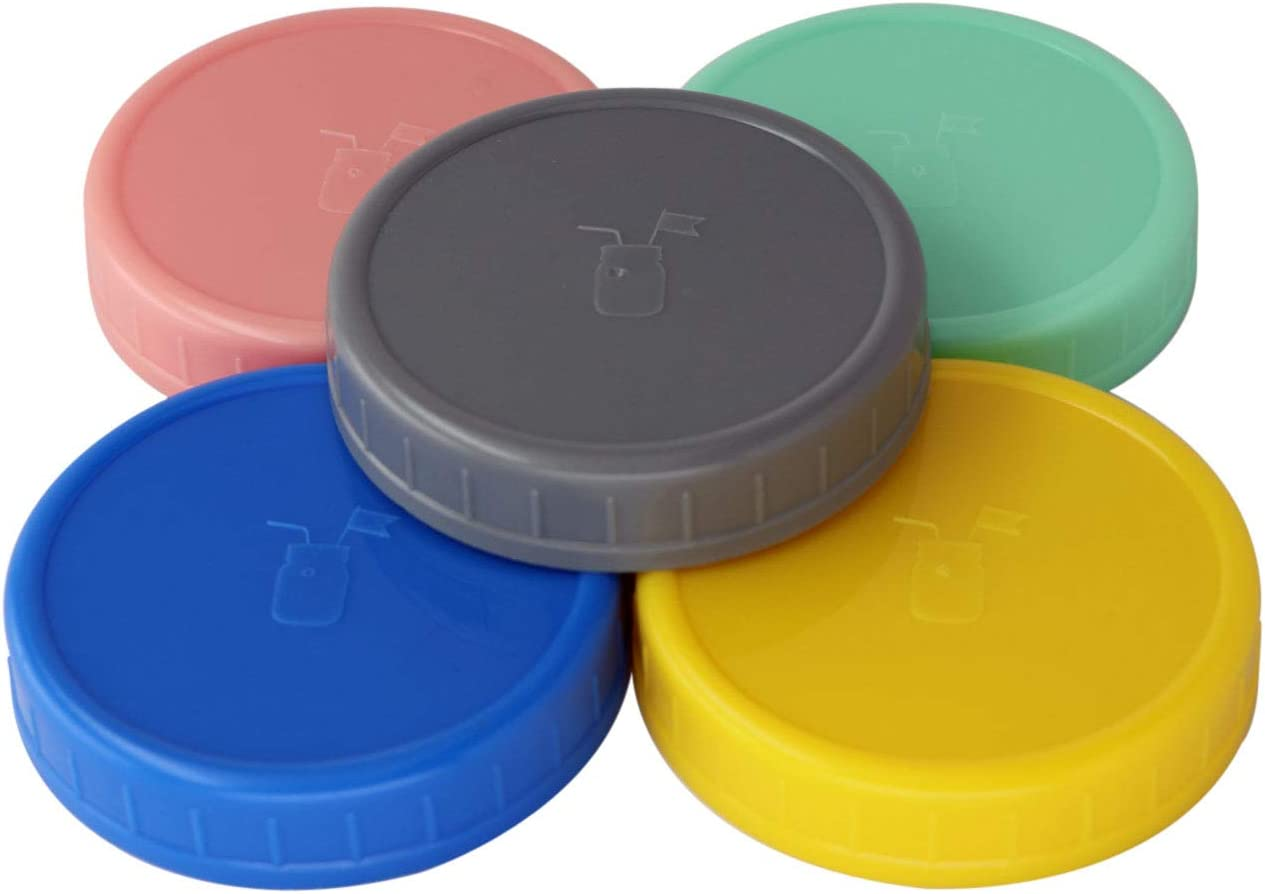 MJL Leak Proof Plastic Storage Lids With Silicone Liners For Mason Jars (5 Pack, Wide Mouth)