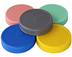 MJL Leak Proof Plastic Storage Lids With Silicone Liners For Mason Jars (5 Pack, Regular Mouth)