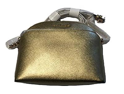 Michael Kors Emmy Saffiano Leather Medium Crossbody Bag (Gold)
