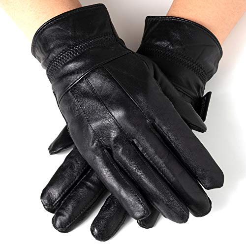 Alpine Swiss Womens Touch Screen Gloves Leather Phone Texting Glove Thermal Warm BLK L