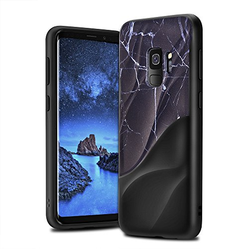 Galaxy S9 Case Marble 3D Textured Wave Design EMORCO Dual Layer Heavy Duty Soft Silicone TPU & Hard Back Cover Protective Shock Proof Anti-Scratch Case for Samsung Galaxy S9 Black Marble Pattern