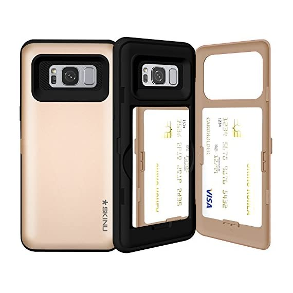 Samsung Galaxy S8, SKINU S8 Wallet Charger Dual Layer Hidden Credit [S8 Card Case] Holder ID Slot Card Case with Inner USB Type C Adapter and Mirror for Galaxy S8 (2017) - White 1 Optional mirror is included inside the case Holds up to three credit cards in hidden compartment. TPU Frame protect your smartphone from impact and is an excellent shock absorber.
