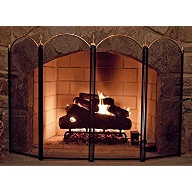 4 Panel Outdoor Large Gold Fireplace Screen Wrought Iron Black Metal Fire Place Screens Decorative Mesh Cover Baby Safe Proof Privacy Doors and Screens for Grate Accessories