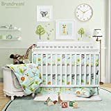 Boys Baby Bedding Set with Bumper Woodland Bedding Elephants Zebra Giraffe Lion Printed Crib / Nursery Bedding Set 100% Egyptian Cotton Hypoallergenic Super Soft Bedding by Brandream, Mint 8 Pieces