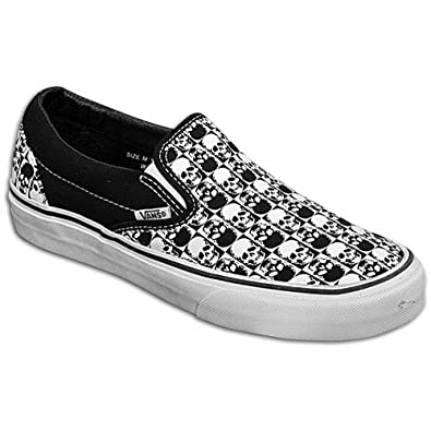 Vans Classic Slip On Black True White Skull Checkerboard Shoe 58623 (UK11) 18cca2d2d