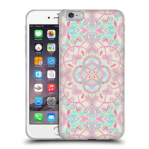 Official Micklyn Le Feuvre Mint And Blush Pink Painted Mandala 2 Soft Gel Case for Apple iPhone 6 Plus / 6s Plus (Painted Blush)