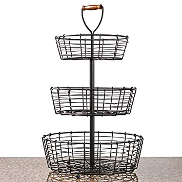 Amazon.com - NEW 3-Tier Wrought Iron Wire Basket Storage Fruit ...