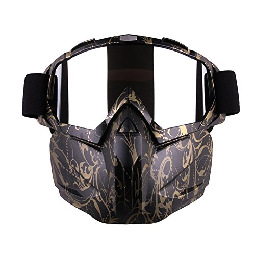 Motorcycle Goggles Mask for Airsoft/CS/Paintball/Skiing/Riding/Cycling/Halloween/Costume Ball-UV Proof Windproof Anti-fog Protective Detachable Adjustable Tactical Glasses (Golden Patterm)