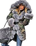 Aofur Womens Hooded Faux Fur Lined Warm Coats Parkas Anoraks Outwear Winter Long Jackets (Medium, Green Camo_Grey Fur)