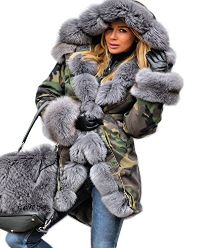 Aofur Womens Hooded Faux Fur Lined Warm Coats Parkas Anoraks Outwear Winter Long Jackets (Small, Green Camo_Grey Fur)