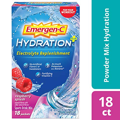 Emergen-C Hydration+ (18 Count, RASPBERRY SPLASH Flavor) Sports Drink Mix with Vitamin C, Electrolyte Replenishment, 0.33 Ounce Powder Packets