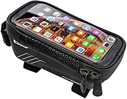 Bike Phone Front Frame Bag, Waterproof Bicycle Phone Mount Bag Touch Screen Mountain Bicycle Phone Holder Pouch Large...