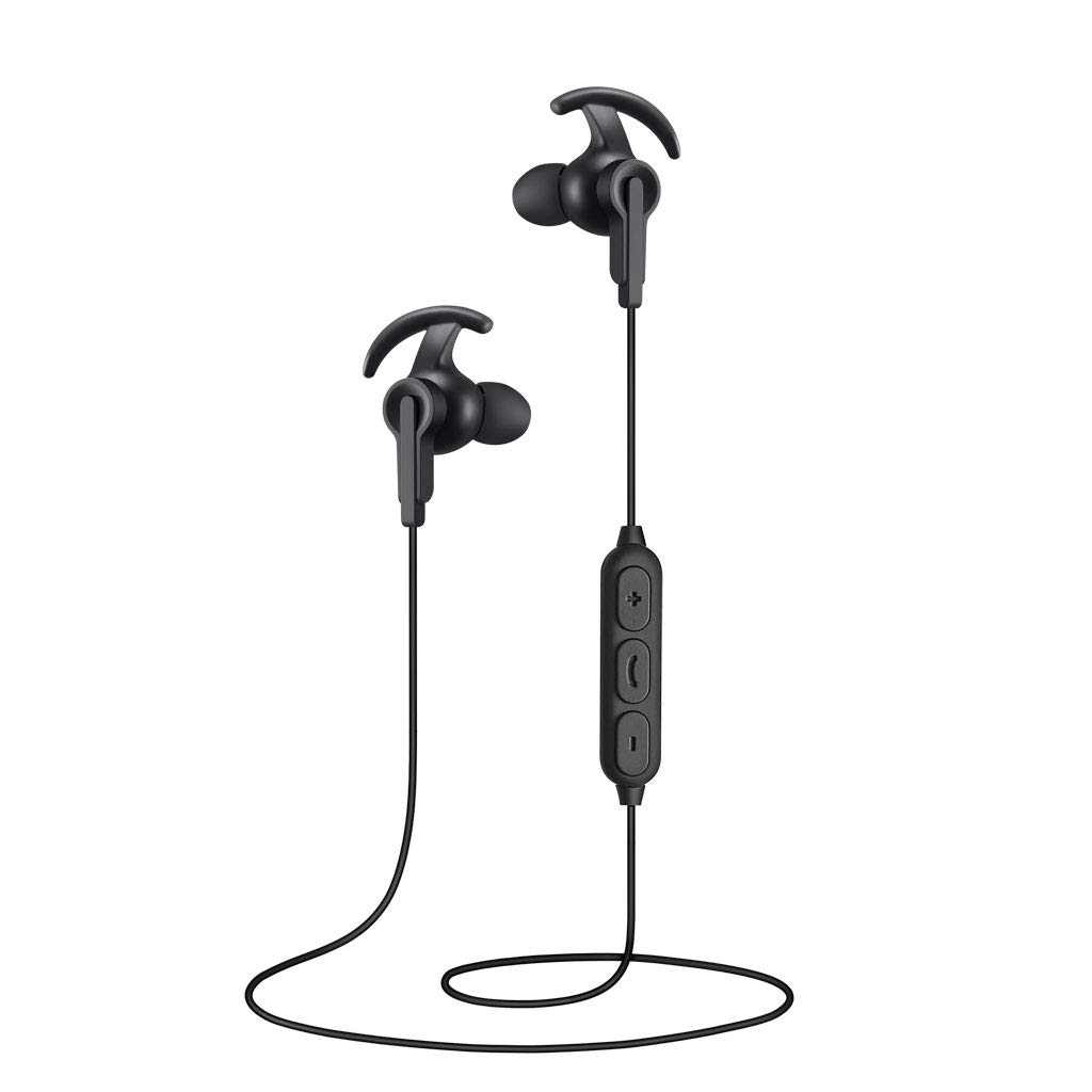 Bluetooth Headphones, Sport Wireless Earbuds Bluetooth 5.0, Richer Bass HiFi Stereo Noise Cancelling in-Ear Earphones with Microphone, IPX5 Sweatproof Headsets for Running Workout Gym (Black)