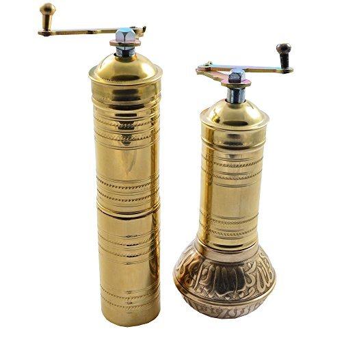 Turkish Pepper Mill - Manual Hand Grinder Mill SET for Turkish Greek Arabic Coffee Beans & Spice Pepper Salt, Brass (Daddy & Mommy)