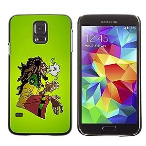 TopCaseStore / la caja del caucho duro de la cubierta de protección de la piel - Cannabis Weed Hemp Jamaica Bob Music - Samsung Galaxy S5 SM-G900