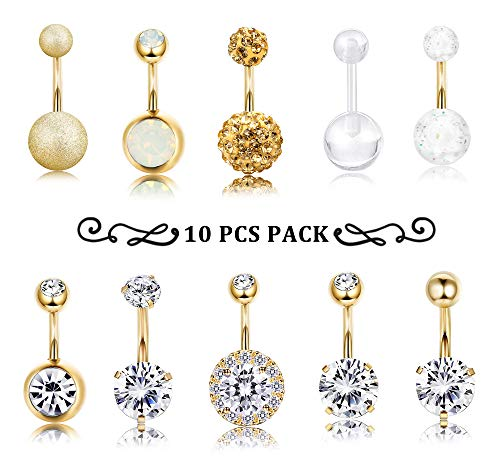 Finrezio 10 PCS 14G Surgical Steel Belly Button Ring Navel Ear Rings CZ Body Piercing Jewelry (B: ()