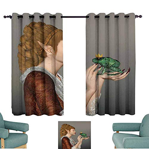 Mannwarehouse Fantasy Durable Curtain Princess Kissing Frog Prince Three Dimensional Design Fairytale Characters Magic for Living, Dining, Bedroom (Pair) 63