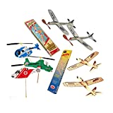 Balsa Wood Airplanes by Guillow's Jetfire and Sky Streak Rubber Band Powered Airplanes Bundle with Kids Windup Flying Copter Toys