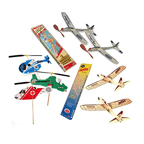 Balsa Wood Airplanes by Guillow's Jetfire and Sky Streak Rubber Band Powered Airplanes Bundle with Kids Windup Flying Copter - Airplanes Rubber Powered Band