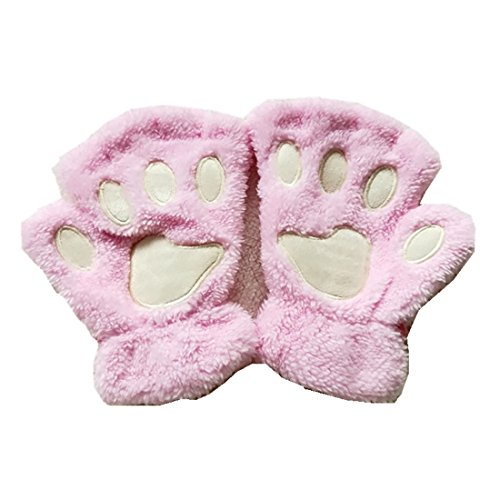 MizHome Cat Bear Plush Claw Paw Mitten Soft Winter Gloves Costume Pink from MizHome