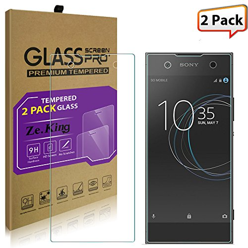 [2-Pack]Sony Xperia XA1 Tempered Glass, ZeKing 0.33mm 2.5D Edge 9H Hardness [Anti Scratch][Anti-Fingerprint] Bubble Free, Lifetime Replacement Warranty