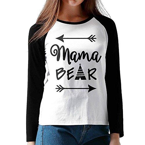 [Women Mama Bear Long Sleeve Raglan Baseball T Shirt Color Black M] (Cow Costume For Pregnant Women)