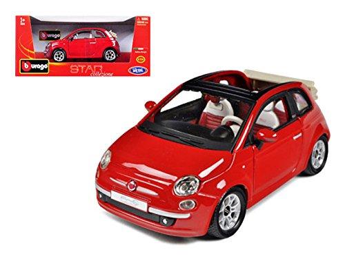 - Bburago 22117 2009 Fiat 500 C Cabriolet Red 1/24 Diecast Model Car