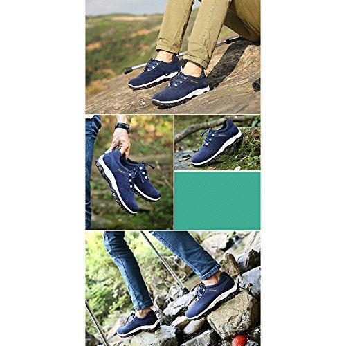 Hommes Trekking de Plein Air Chaussures Coureurs Espadrille Lumière Bottes de Marche Baskets des Sports Chaussures de Course Chaussures de Sport avec Élastique Laçage Bleu, Jaune, Noir, Gris 39-44