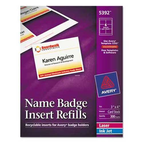 Avery Additional Laser/Inkjet Inserts, 3 x 4, White, - Avery Name Badge Inserts 5392