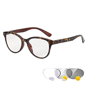 ee1f78644b REAVEE Transition Lens Photochromic Reading Glasses Spring Hinged Sun  Readers for Men and Women Change to