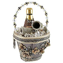 Beaded Champagne Ice Bucket Top Handle Bag