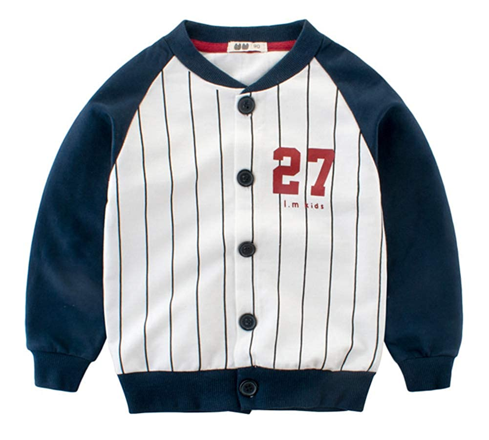 CHUNG Kids Girls Boys Baseball Cardigan Coat Jacket Button Stripe Sweater Tops Varsity Outerwear