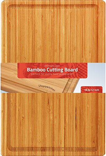 Utopia Kitchen Extra Large Organic Bamboo Cutting Board (17 x 12 inch) - Cutting Boards for Meat and Chopping Vegetables 2 Moso bamboo wood's hard density makes it sustainable and is almost maintenance free Cutting board is used when cutting fruits or meat or bread or baked goods without unnecessary hacking and sawing Extremely light yet very durable bamboo construction makes it hard to scar a bamboo cutting board with a knife and at the same time its soft nature does not to damage or blunt your knives