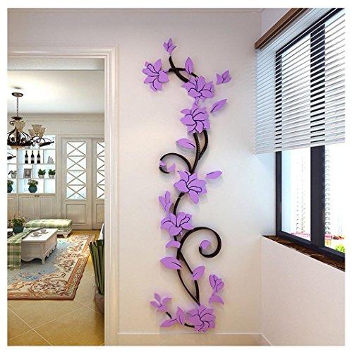 Kemilove DIY 3D Acrylic Crystal Flowers Vine Wall Stickers Living Room TV Background Decor, 45cmX150cm/17.72
