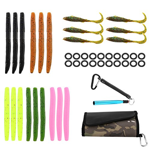 Fishing Soft Lures Set Artificial Bait Lure with 15 Worms 6 Curl Tail Lures 1 Wacky Rig Tool 20 O-Rings 1 Waterproof Fishing Lure Organizer Bag for Saltwater Freshwater Bass Trout Barracuda Salmon