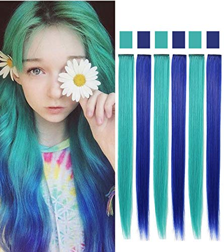 Match Rhymes Game - Rhyme 6PCS Princess Party Highlight Blue Teal Hairpieces Colored Hair Extension Clip in/On for Amercian Girls and Dolls Wig Pieces for Kids (Blue Teal)