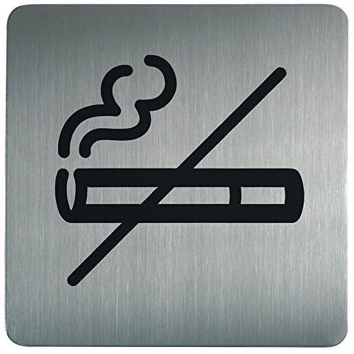 Durable 495323 Plaque d'Information Pictogramme Carré 150 x 150 mm en Acier Brossé Inoxydable Zone Non Fumeur