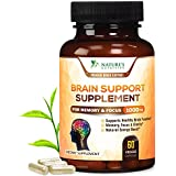 Premium Brain Support Supplement (Extra Strength) Brain Memory Pills for Focus & Clarity. Natural Nootropic Booster w DMAE, Bacopa, Glutamine, Vitamins & Minerals by Nature's Nutrition - 60 Capsules