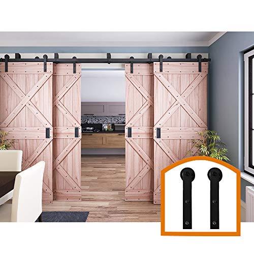 (ZEKOO 9 FT Double Track Bypass Barn Door Hardware 4 Door Rustic Style Use for Third Doors Steel Set)
