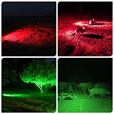LS400 RGBW 4 Color in 1 Multifunction Hunting Spotlight Rechargeable Handheld Scan Light Green Red White Blue Zoomable Flashlight for Scanning Coyote,Predator,Coon,Varmint,Hog(Batteries Not Included)