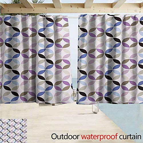 Contrast Diagonal Panel - Zmacdk Geometric Circle Curtains for Living Room New Age Style Dynamic Contrast Bands Diagonals Fractals Art Print Image Perfect for Your Patio, Porch, Gazebo, or Pergola W63 xL45 Multicolor