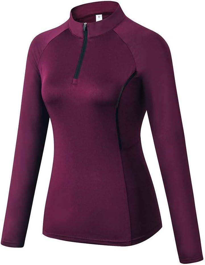 Gyratedream Frauen schnell trocknende Kleidung Rei/ßverschluss Langarm Rundhalsausschnitt Sport Fitness Yoga Training T-Shirt Fr/ühling Pullover Tops