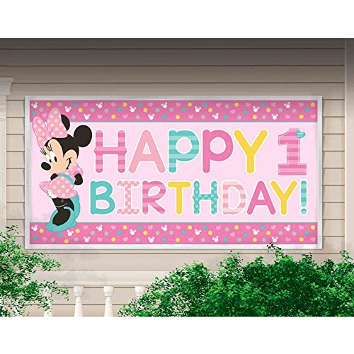 amscan Disney Minnie's Fun to be One Horizontal Giant Sign Banner, Birthday