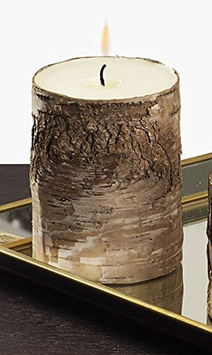 Christmas Tablescape Decor - Single Rustic Medium Dark Natural Birch Bark with Wax Pillar Candle Center
