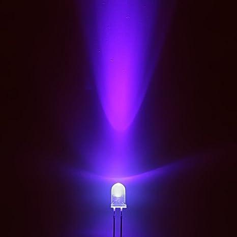 25 LED UV Alta Luminosità 5 mm LED UV Ultraviolet alta luminosita 2000 3000 MCD